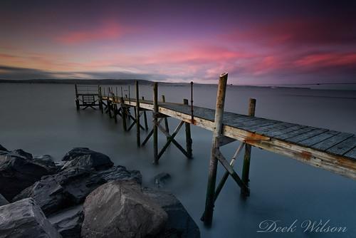 holywoodjetty belfastlough landscape seascape woodenjetty redsky northernireland landmark bluehour sunset