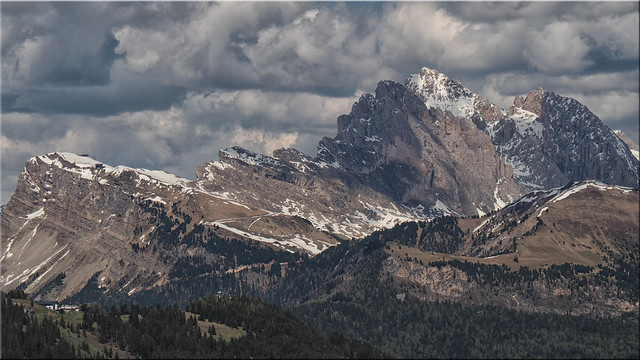 View from the Seiser Alm in South Tyrol on the Seceda and the Geisler group