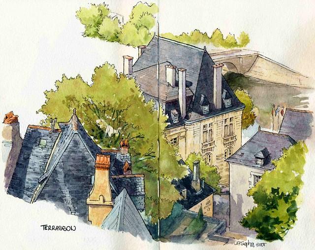 Terrasson, les toits