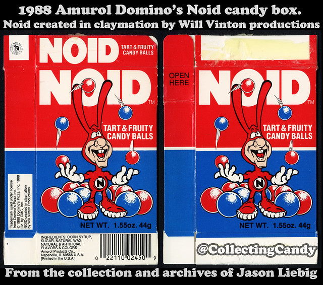 Amurol - Domino's Pizza - Noid candy balls - Will Vinton Productions - 1.55 oz candy box - 1988
