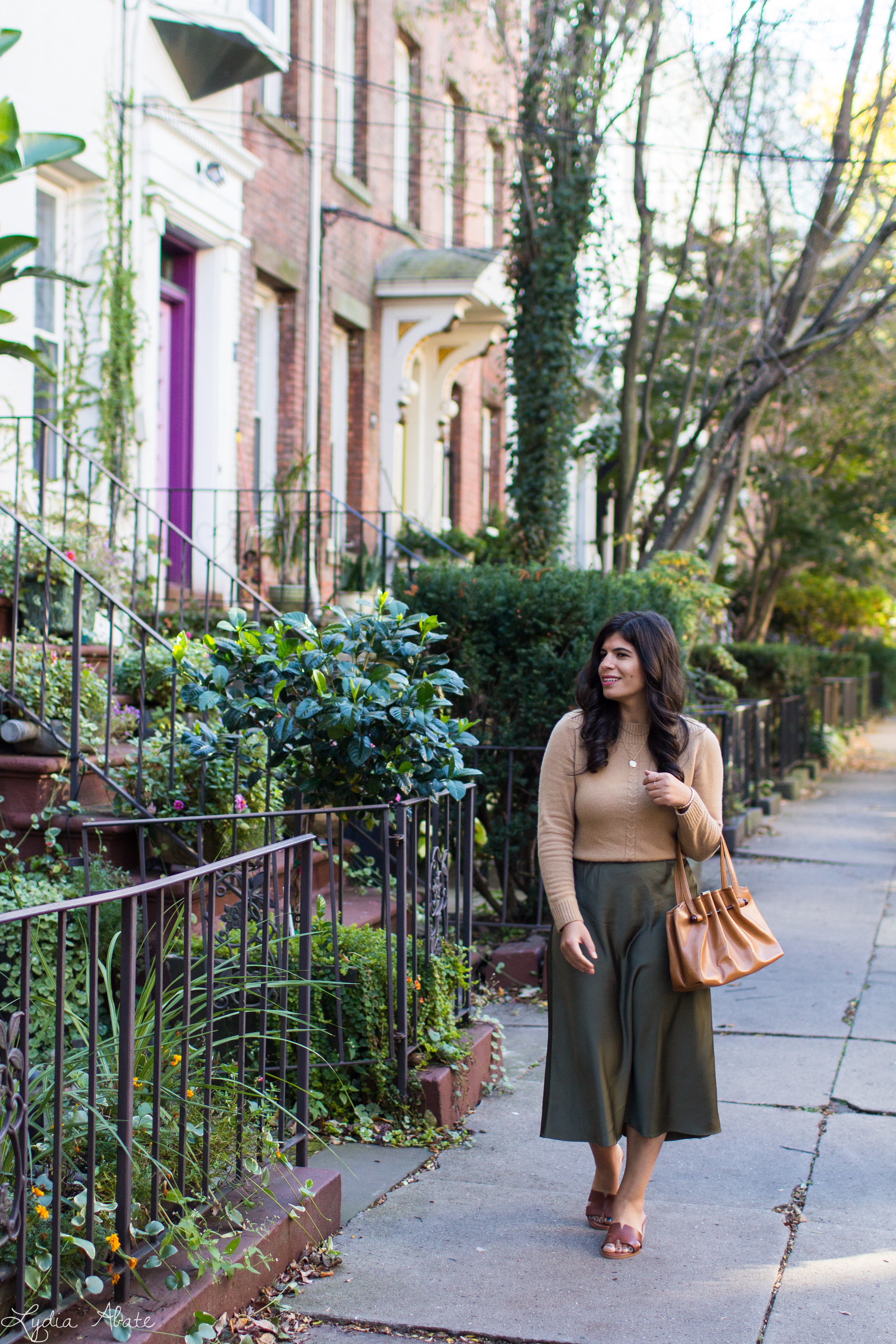camel sweater, olive green midi skirt, brown sandals, vintage bag-3.jpg