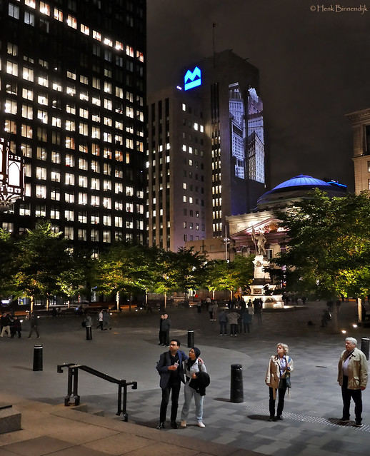 Canada: Montreal, Place d'Armes by night