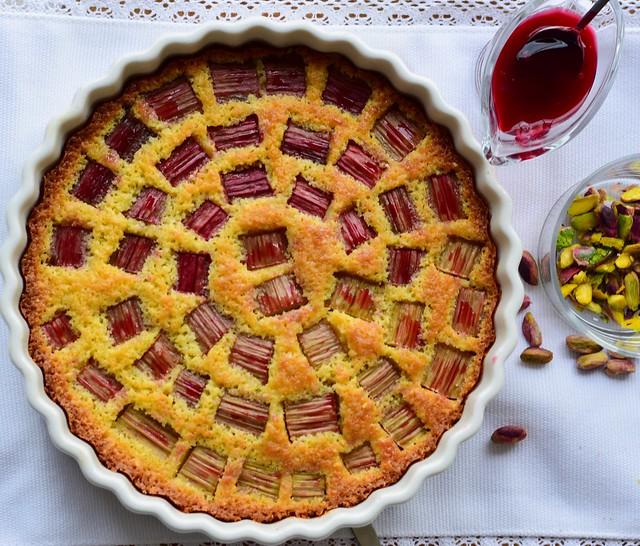 Rhubarb and pistachio frangipane