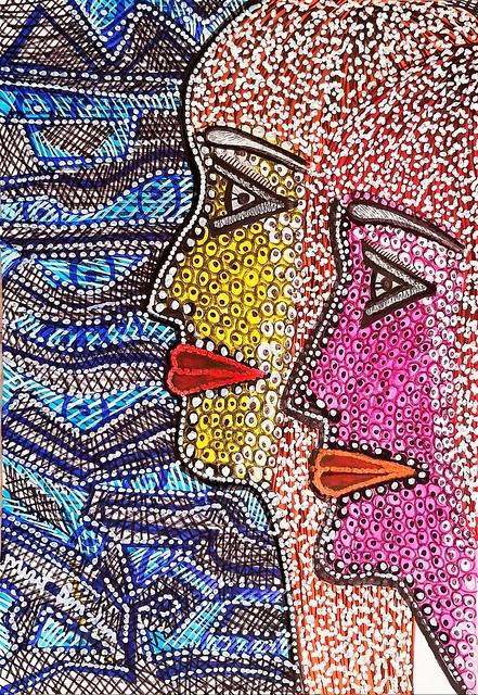 Rostros dibujos modernos desde Israel artista contemporanea Mirit Ben-Nun