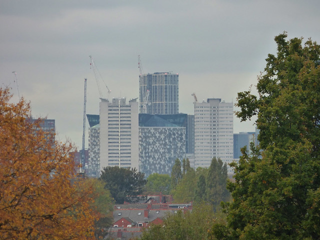 Oaklands Recreation Ground - Birmingham skyline including The Cube and The Bank Tower Two