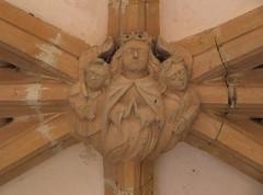 south porch boss: Christ in Majesty flanked by angels