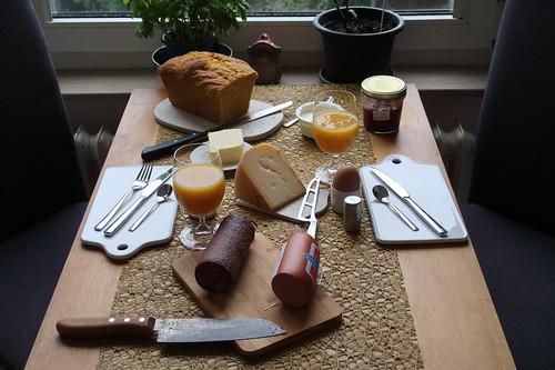 Frühstück am Sonntagmorgen (mit Produkten aus dem Hofladen des Frecklinghofs)