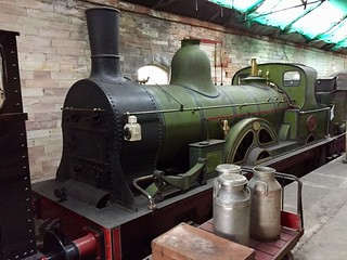 North Eastern Railway 901 Class 2-4-0 no.910 inside the station at Kirkby Stephen East.