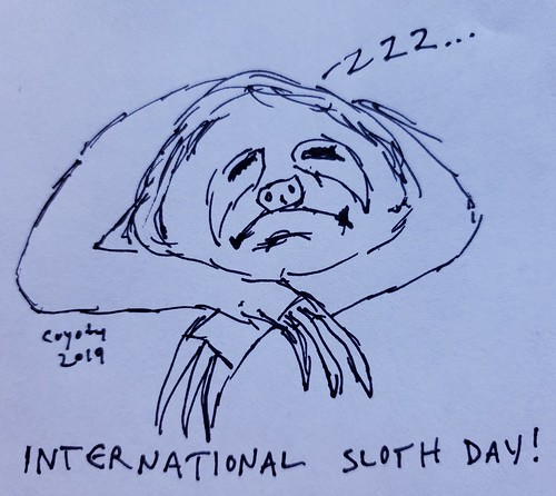 Inktober 20, 2019: International Sloth Day
