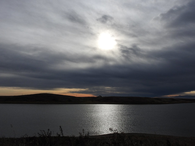 01 Looking into the sun at Pine Coulee Reservoir