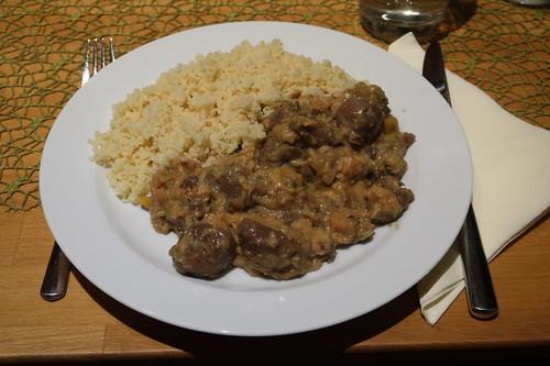Lamm auf marokkanische Art mit Quitten und Rass El Hanout (mein Teller)