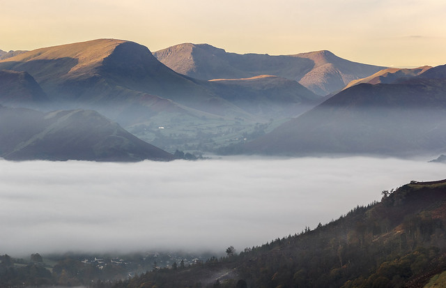 Newlands Valley seen from Blease Fell (Blencathra), Lake District National Park, Cumbria, UK