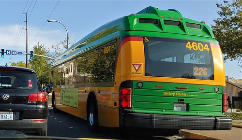 Seattle Metro Bus in Bellevue, WA. New Modern Electric buses are now replacing the dirty diesel polluting buses.
