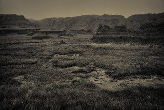 Mixed-Grass Prairie and Badlands Formations (Black & White, Badlands National Park) | by thor_mark 