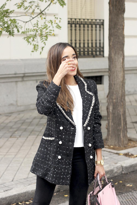 tweed veste sac survêtement jeans noir street style vêtements 20197