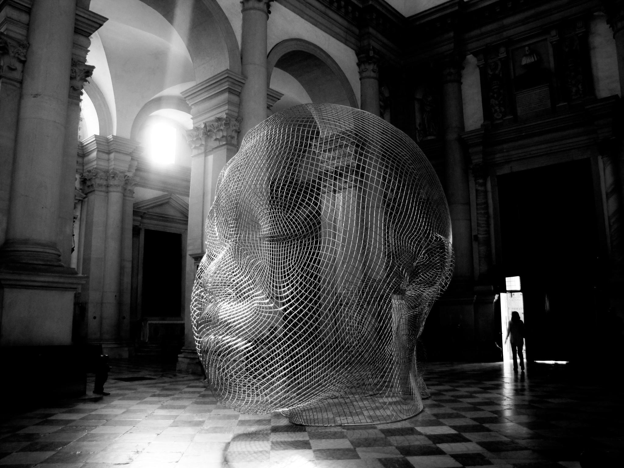 Sculpture by Jaume Plensa, Basilica de San Giorgio Maggiore, Venice, Italy