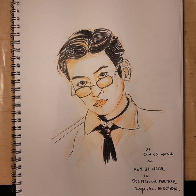 Back to inktober after a week's gap #inktober2019 #inktober2019day14 #jichangwook #suspiciouspartner #koreandrama