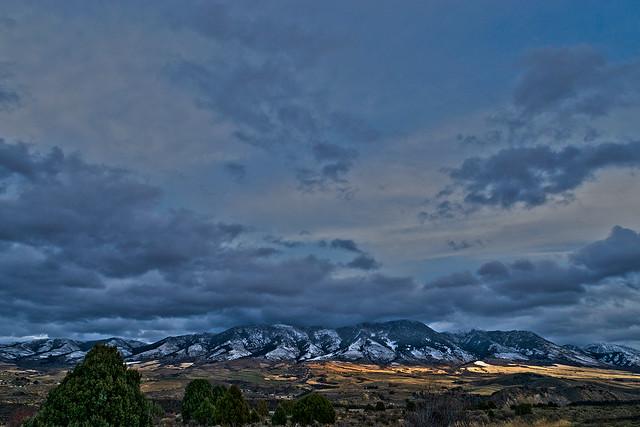 At dusk. Looking eastward toward Portneuf Range mountains