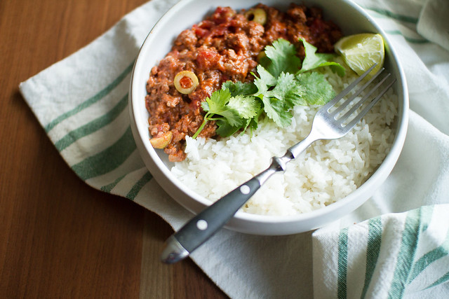 Bowl of Picadillo with Rice