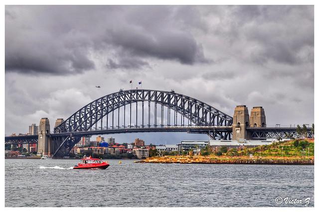Helicopter, Train and Boat at Sydney bridge Australia -32