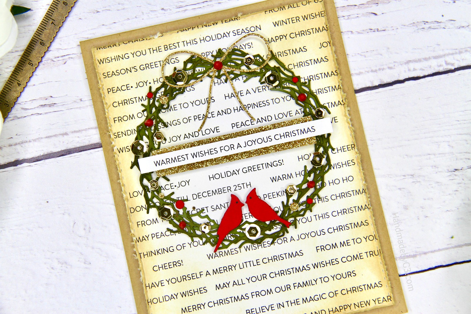 SSS Joyous Christmas card closeup