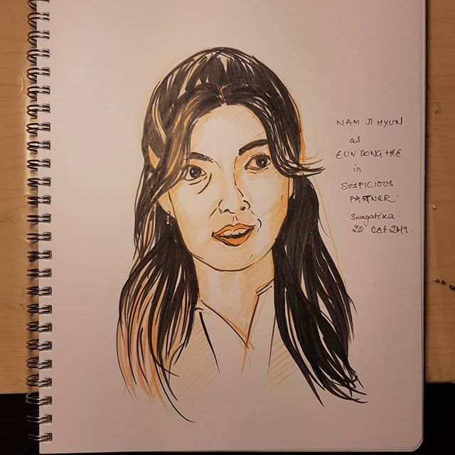 A not so successful attempt at #namjihyun #eunbonghee #suspiciouspartner #koreandrama #inktober2019day15 #inktober2019