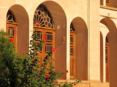 Windows and doors of old Middle East Silk Road era palace - Kashan, Iran