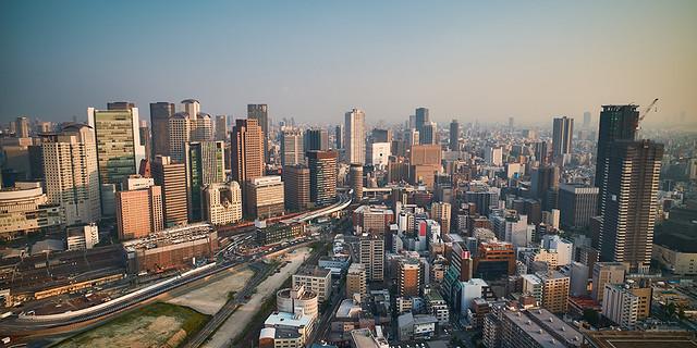 梅田スカイビルからの大阪都市風景