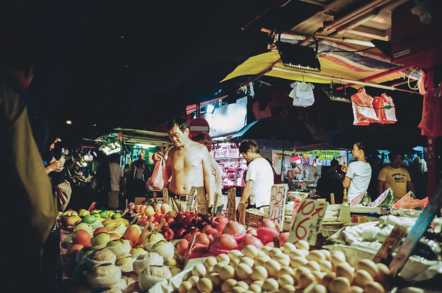 Fruit market with oriental lighting