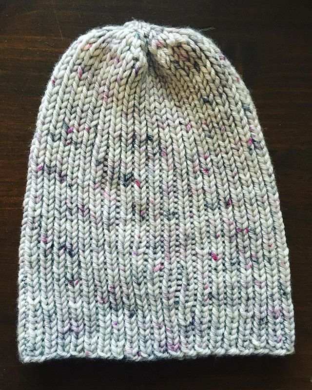 Quick ribbed hat. One skein of @neighborhoodfiberco Studio Chunky, bought at @fibrespace in Alexandria, VA a couple weeks ago. #knitting #hatknitting