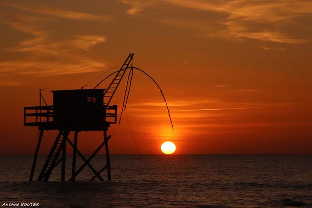 Soleil couchant sur l'océan (44, France)