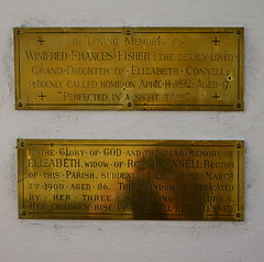 Winifred Fisher and Elizabeth Connell (memorial plaques by Ward & Hughes)