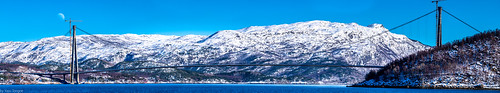 Panoramic view of Hålogaland Bridge over Ofotfjord at Narvik, Norway-30