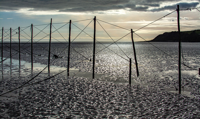 Salmon fishing structures at Sandyhills Bay, Solway, Scotland