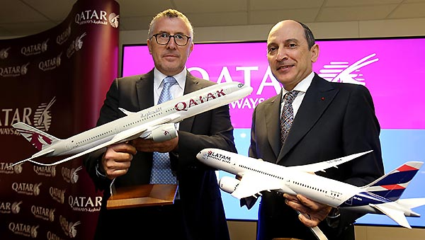 Qatar Airways y LATAM  E.Cueto y Akbar Al Baker (Qatar Airways)