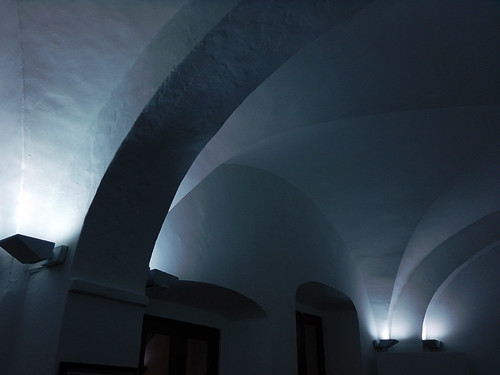 Blue arches in a Puebla museum, Mexico