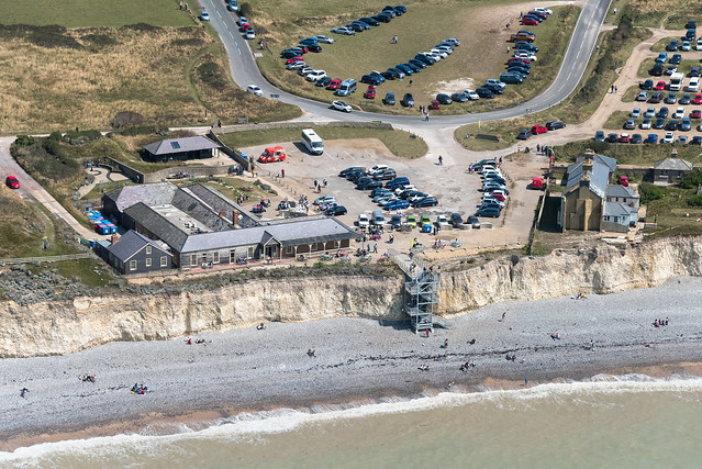 Birling Gap National Trust Visitor Centre at the Seven Sisters in East Sussex - UK aerial image