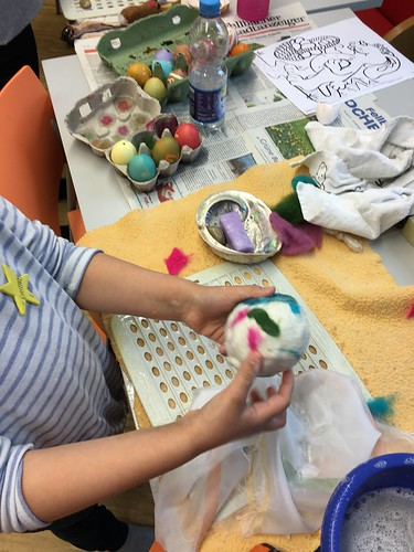 Easter holiday fun with batik wax egg painting and bunny felting in Stuttgart Germany | by herbe_d