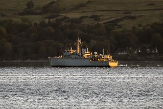 RN Hunt-class mine countermeasures vessel HMS Cattistock, M31; Loch Long, Firth of Clyde, Scotland.