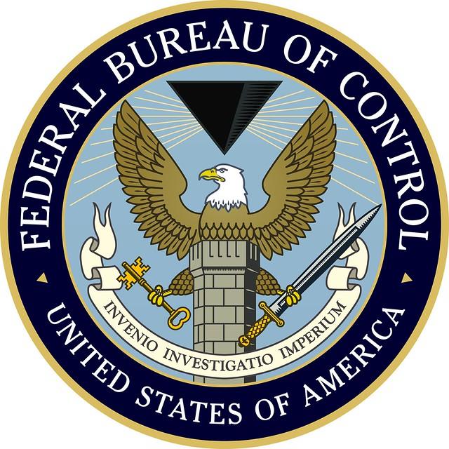 Federal Bureau of Control logo. INVENIO INVESTIGATIO IMPERIUM