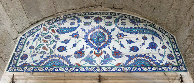 Blue and white Iznik tiles over a doorway - Istanbul