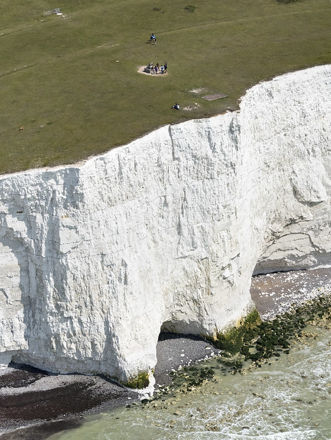 The William Charles Campbell monument on Flagstaff Brow of the Seven Sisters chalk cliffs - East Sussex aerial image