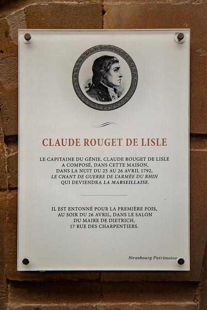 Erinnerungstafel für Claude Rouget de Lisle in Straßburg
