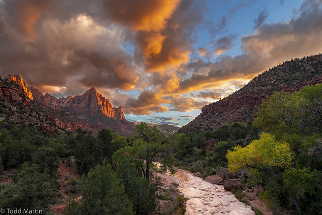 Virgin River and the Watchman at sunset, Zion National Park, Utah