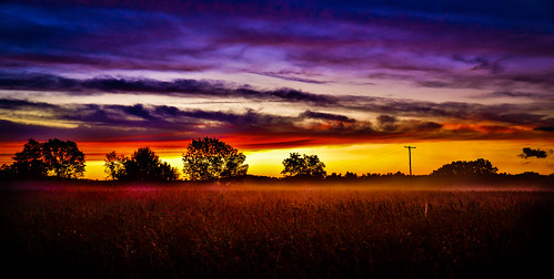 summer sunset field sky clouds color grass shadow tree silhouette nature july mist glow rwgrennan ryan grennan rgrennan nikon d610 landscape farm orange red purple blue upstate new york ny nys