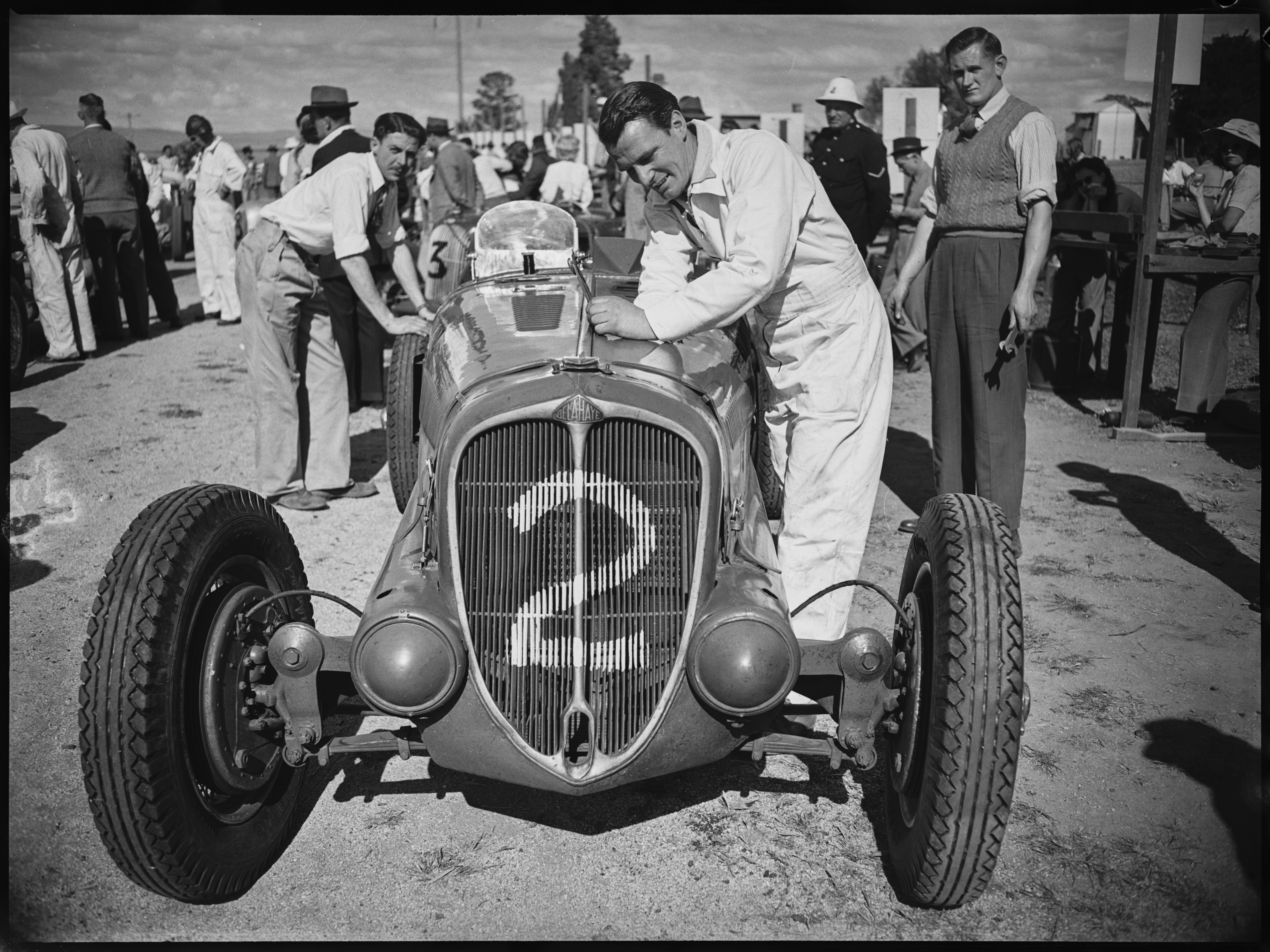 No. 2. John Crouch with his Delahaye 135 racing car, Grand Prix, Bathurst, October 1946,