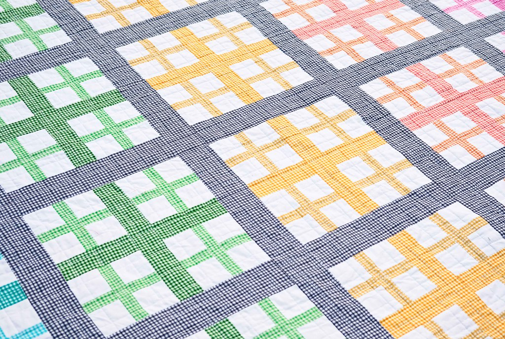 The Addition Quilt in Rainbow Gingham - Kitchen Table Quilting