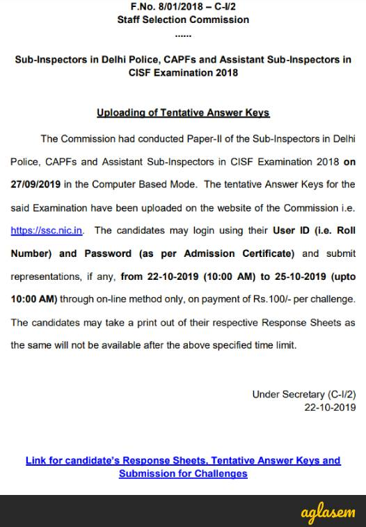 SSC CPO Answer Key Tier 2 Released, Submit Objection By 25 Oct!