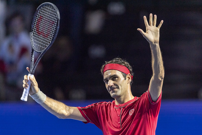 Roger Federer獲勝後向觀眾致意。(達志影像)