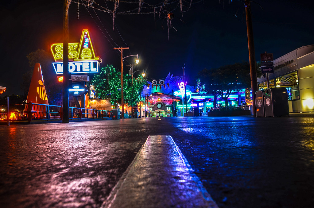 Cars Land night ground DCA